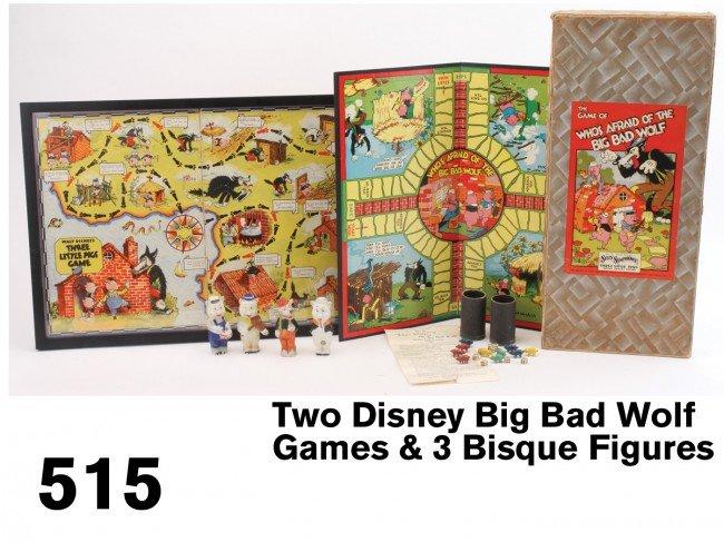 515: Two Disney Big Bad Wolf Games & 3 Bisque Figures