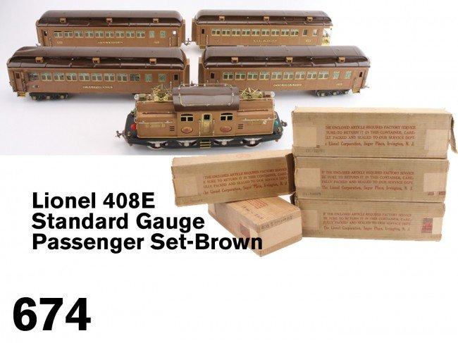674: Lionel 408E Standard Gauge Passenger Set-Brown