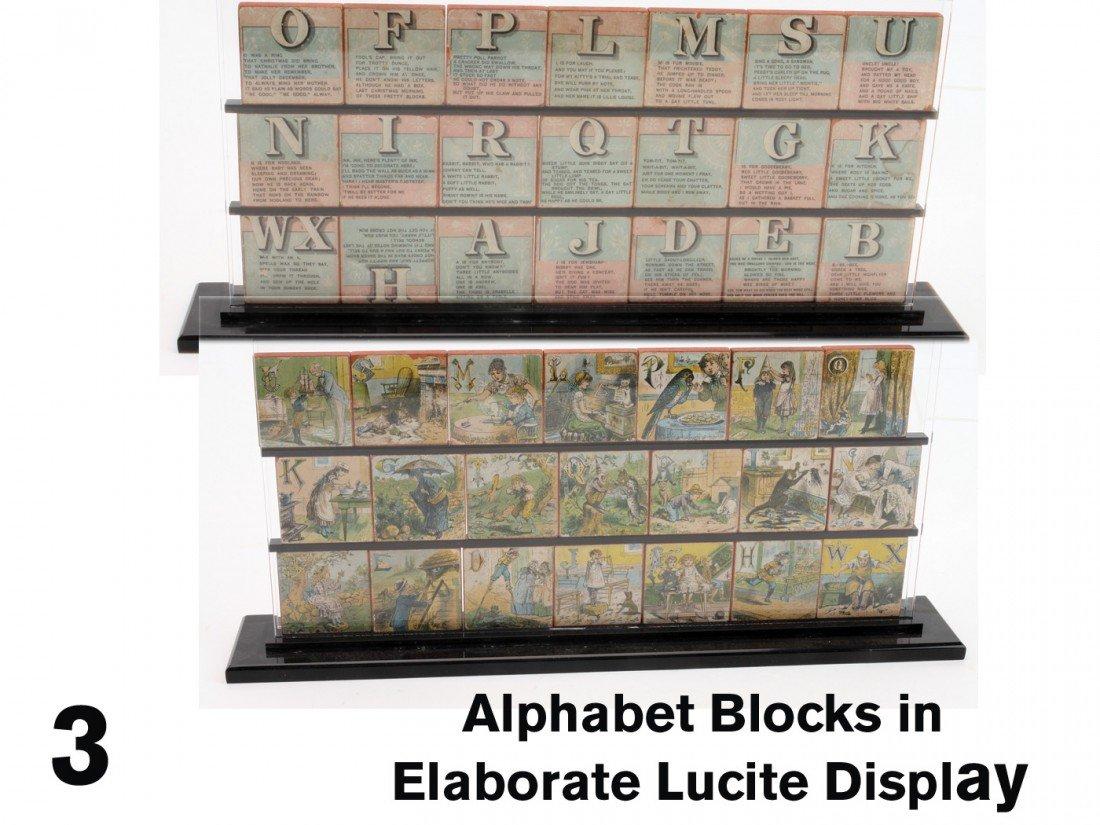 3: Alphabet Blocks in Elaborate Lucite Display