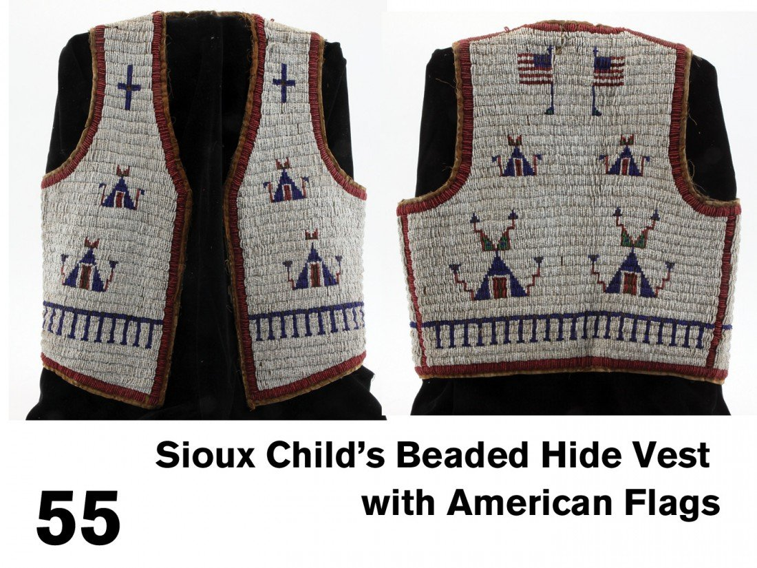 55: Sioux Child's Beaded Hide Vest with American Flags