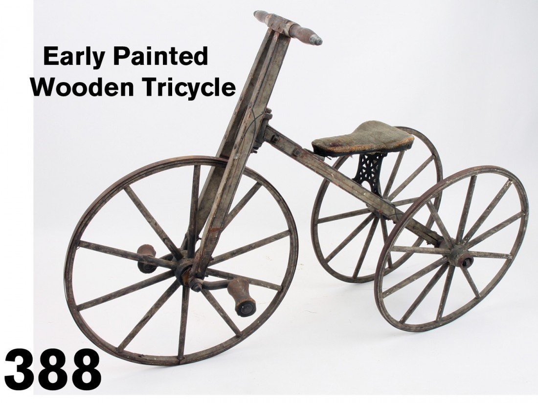 Early Painted  Wooden Tricycle