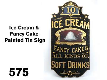 Ice Cream & Fancy Cake Painted Tin Sign