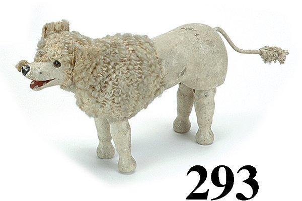 293: Schoenhut Poodle - Glass Eye - Cloth Mane