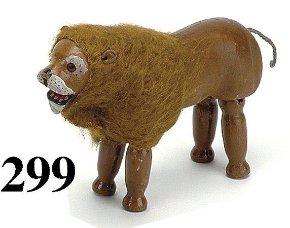 299: Schoenhut Lion - Glass Eye - cloth mane