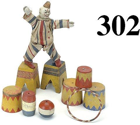302: Lot: Schoenhut Clown and Accessories