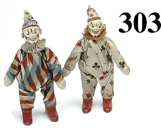 303: Lot: 2 Schoenhut Clowns -1 in diamond cloth