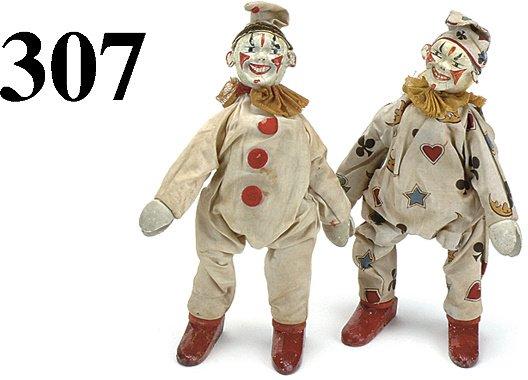 307: Lot: 2 Schoenhut Clowns -1 red button front