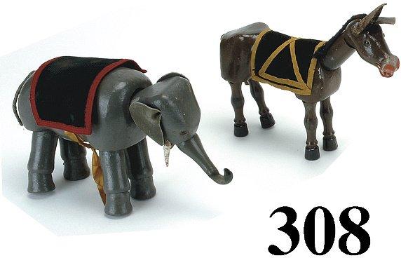 308: Lot: Schoenhut Elephant & Donkey - both glass eye
