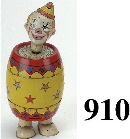 910: Chein Clown in Barrel