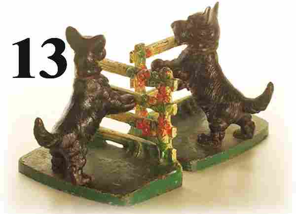 Hubley Book Ends-Scotty at Fence