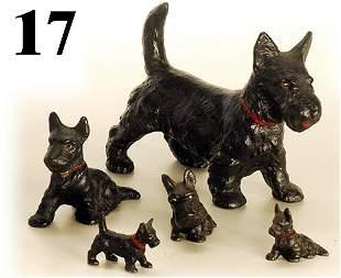 Lot: 5 Hubley Scotty Dogs