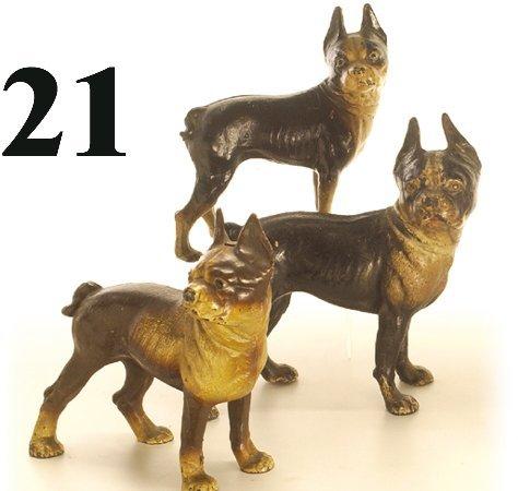 21: Lot: 3 Hubley Door Stops-Boston Terriers