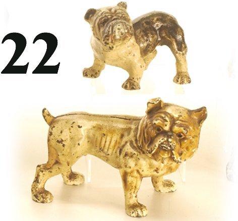 22: Lot: 2 Hubley Bull Dogs