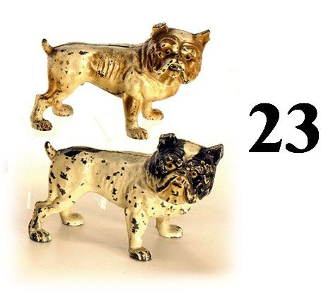 Lot: 2 Hubley Bull Dogs