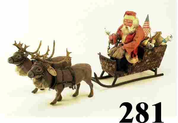 Very Large Sleigh with Santa and 2 Noddi