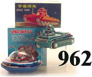 Lot: Space Ship X-5 & Space Tank with bo