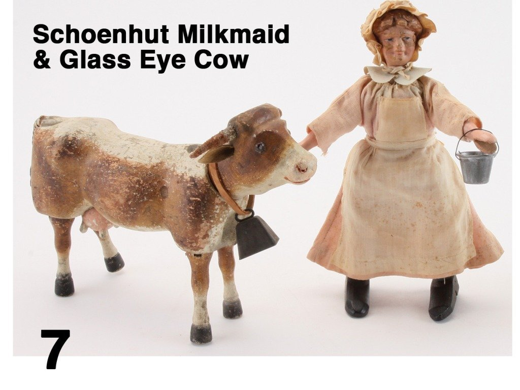 Schoenhut Milkmaid & Glass Eye Cow