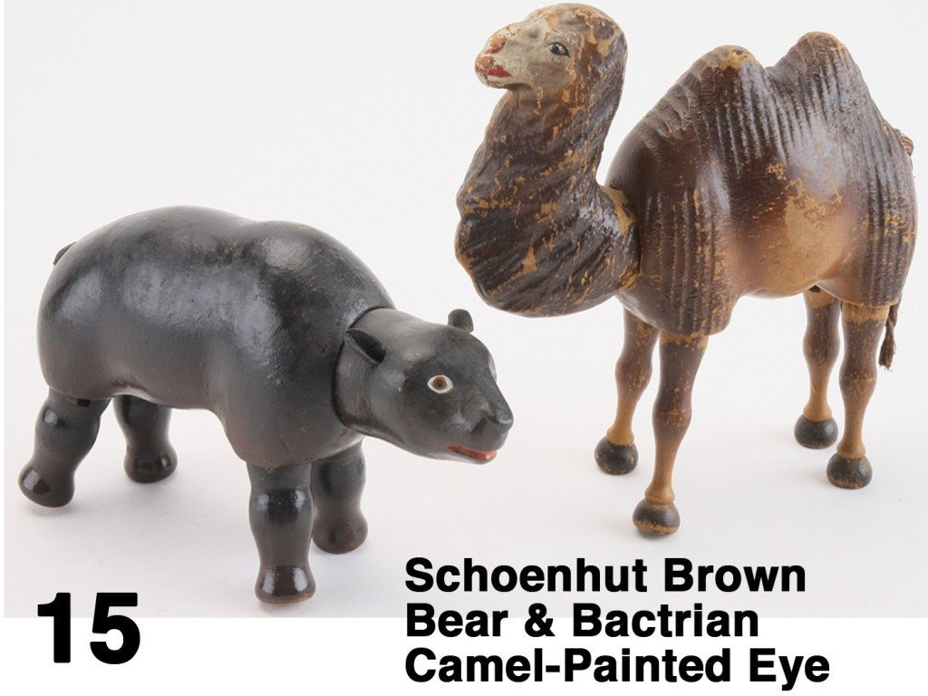 Schoenhut Brown Bear & Bactrian Camel-Painted Eye