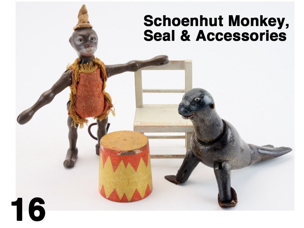 Schoenhut Monkey, Seal & Accessories