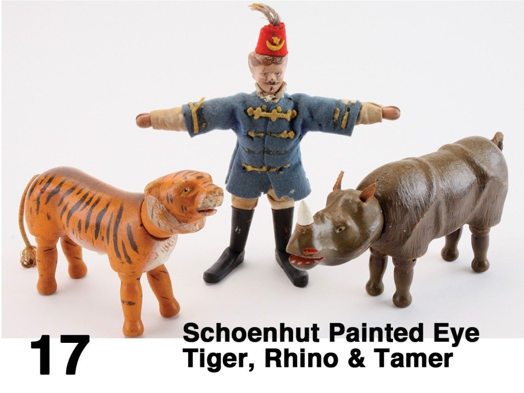Schoenhut Painted Eye Tiger, Rhino & Tamer