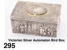 Victorian Silver Automaton Bird Box