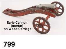 Early Cannon (mortar) on Wood Carriage