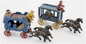 Two Hubley Circus Wagons - small scale
