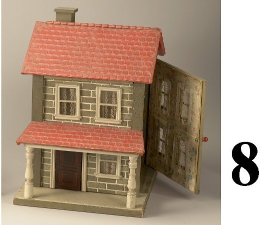 8: Schoenhut 2 Room Dollhouse with porch