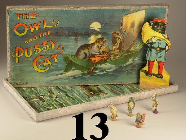 13: Lot: Owl & Pussy Game and Stand-up