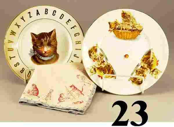 Lot: 2 Cat Plates
