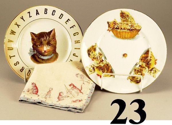 23: Lot: 2 Cat Plates