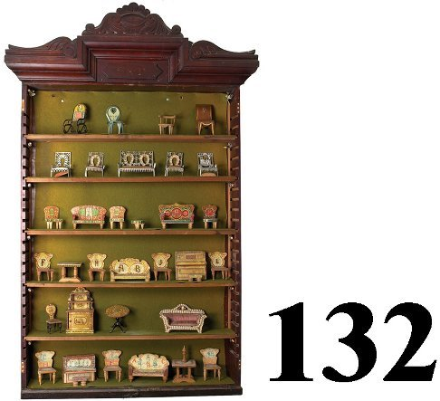132: Display Cabinet with Assorted Parlor Suites