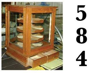 Table Display Case with Revolving Bins