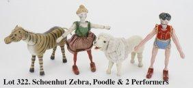 Schoenhut Zebra, Poodle & 2 Performers