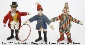 Schoenhut Ringmaster, Lion Tamer & Clown