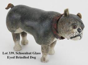 Schoenhut Glass Eyed Brindled Dog