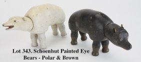 Schoenhut Painted Eye Bears - Polar & Brown
