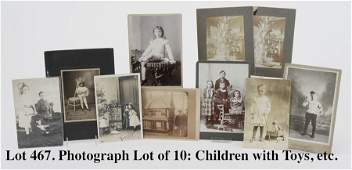 Photograph Lot of 10: Children with Toys, etc.
