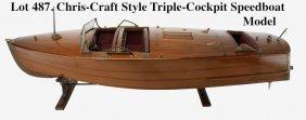 Chris-Craft Style Triple-Cockpit Speedboat Model
