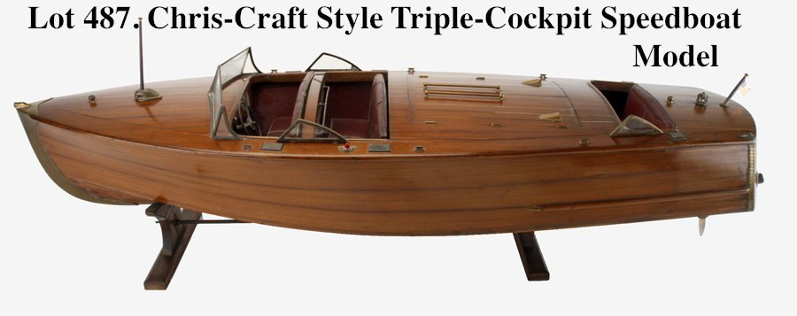 Chris-Craft Style Triple-Cockpit Speedboat Model