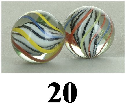 20: Lot: 2 English Swirl Marbles