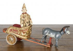 Rare Schoenhut clown and burro chariot pull toy