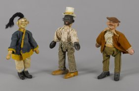 Three Schoenhut painted wood circus figures, to