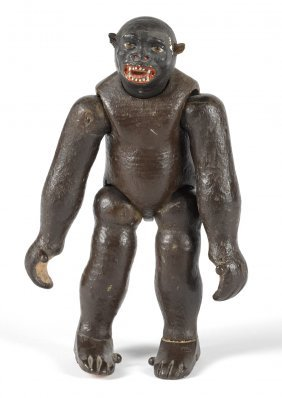 Schoenhut painted wood gorilla figure, an early