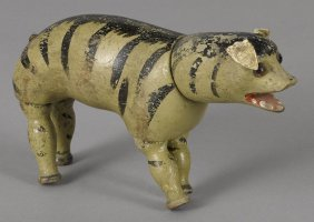 Schoenhut painted wood hyena with glass eyes, 6
