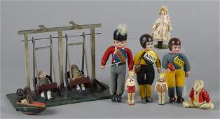 Celluloid figures and toys, to include three dr