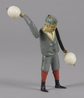 Gunthermann hand painted tin clockwork ball twir