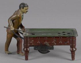 German tin lithograph clockwork billiards player