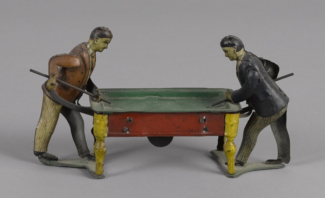German tin lithograph clockwork billiards player