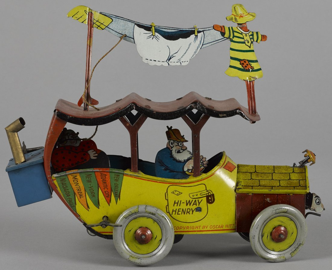 Fischer tin lithograph wind-up Hi-Way Henry to